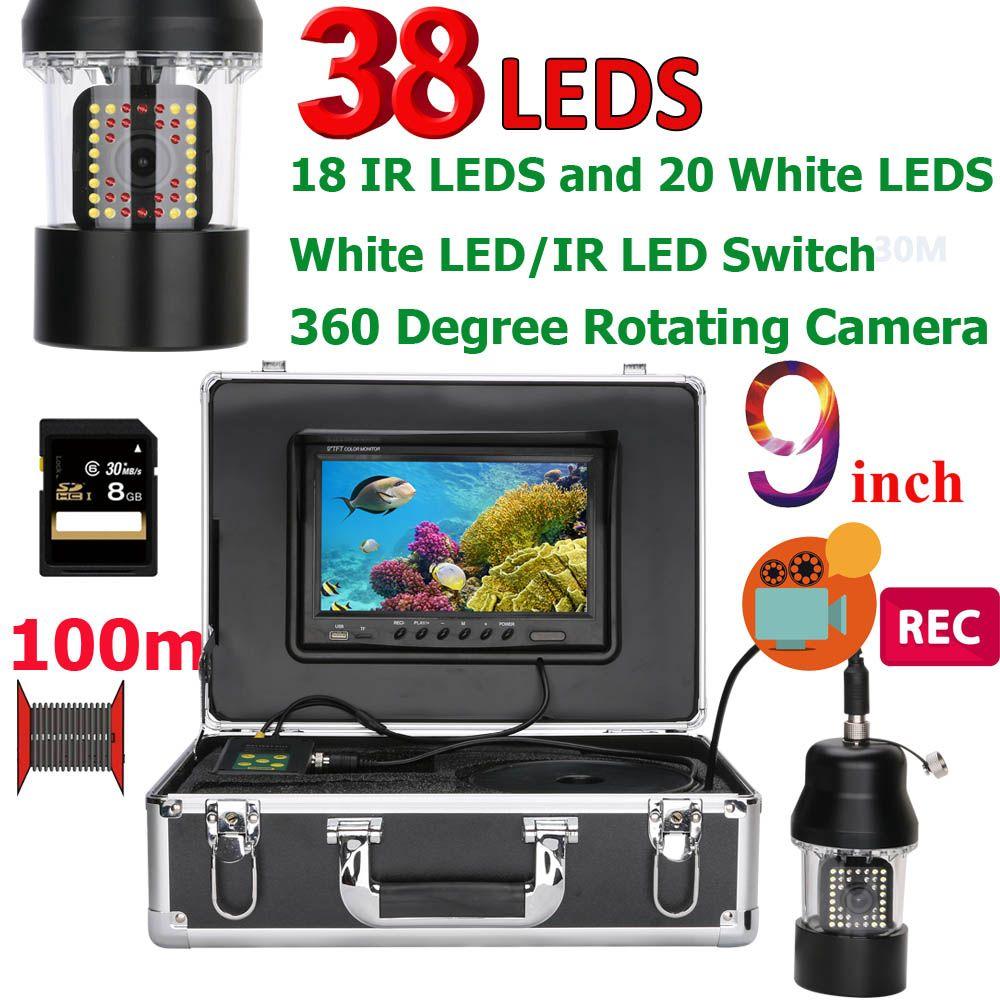 9 zoll DVR Recorder 100 m Unterwasser Angeln Video Kamera Fisch Finder IP68 Wasserdicht 38 LEDs 360 Grad Rotierenden Kamera