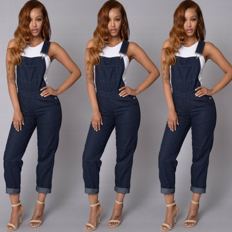 Autumn New Fashion Womens Jumpsuit Strap Rompers Playsuit Pants Overalls Trousers Stylish Womens Overall Loose Jumpsuits