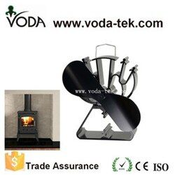 VODA Black Heat Powered Stove Fan 2 Blade Fireplace Fan Triangle-Shaped Base For Wood/Log Burner /Fireplace-Eco Friendly Saving