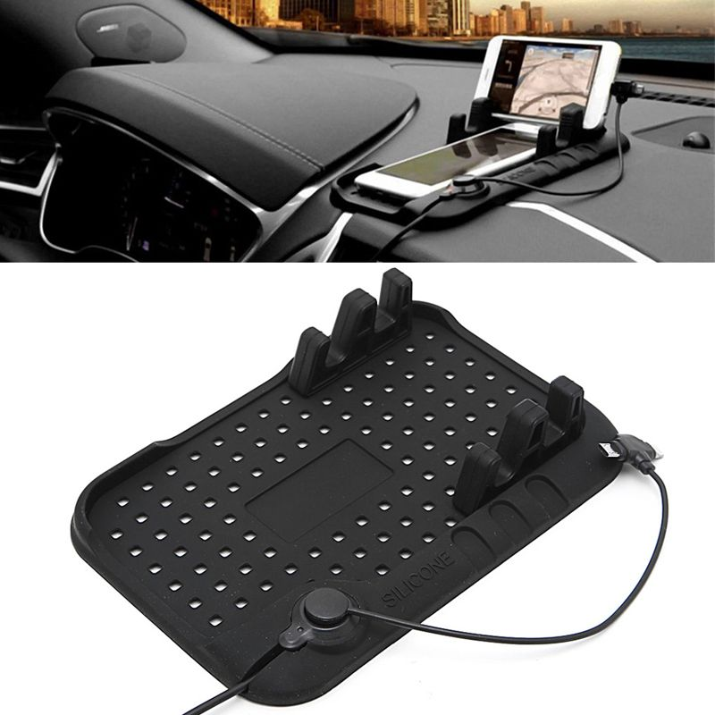 Multi-functional Charge Of Silicone Anti-Slip Mat Car Mobile Phone USB Charger