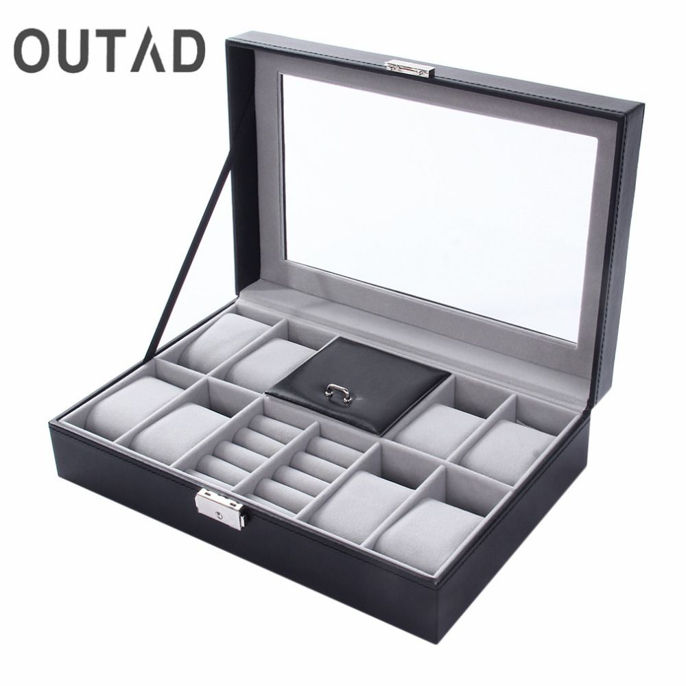 2 In One 8 Grids+3 Mixed Grids PU Leather Watch Case Storage Organizer Box Luxury Jewelry Ring Display Watch Boxes Black top New