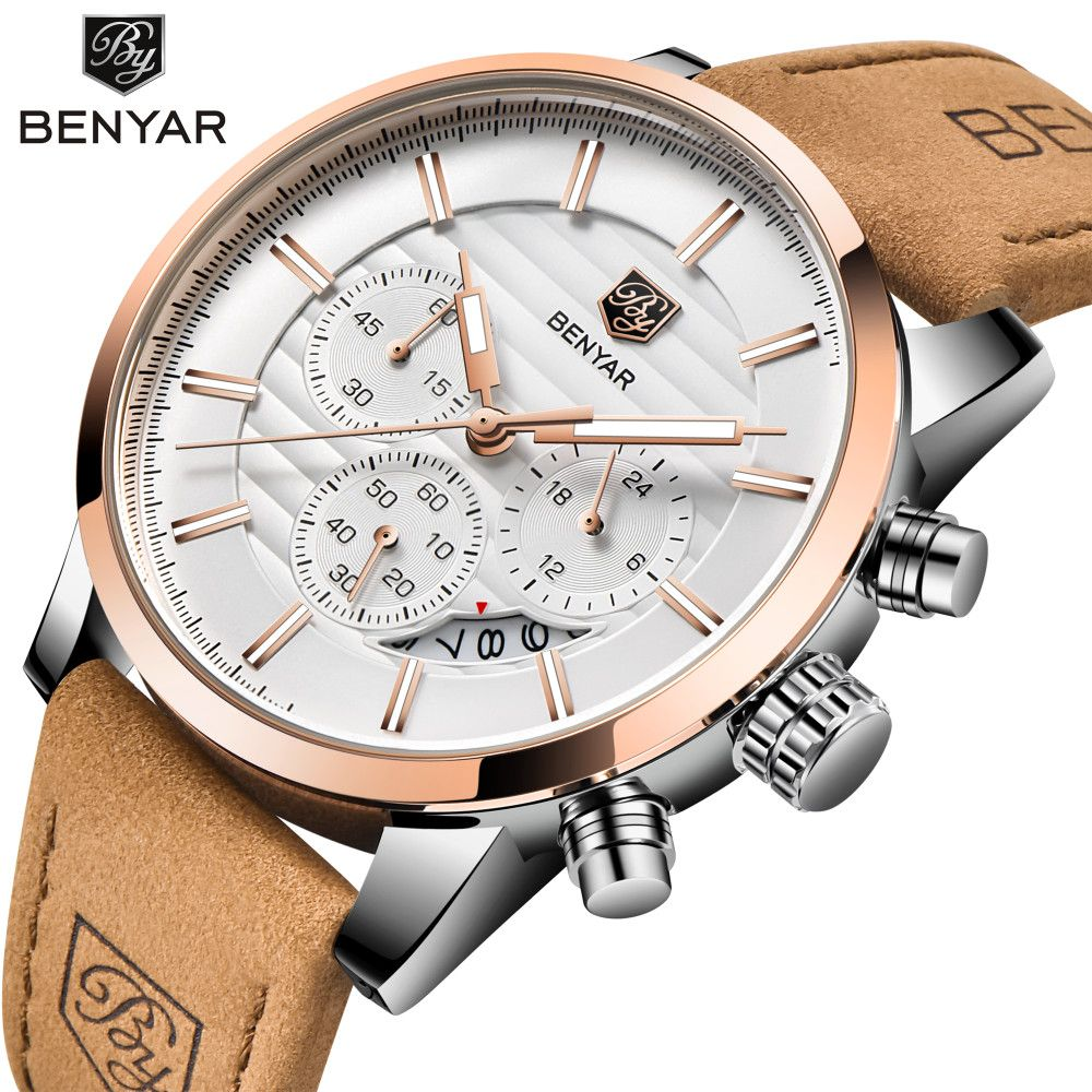 2019 BENYAR Brand Men Watches Fashion Sport Military Quartz Waterproof Leather Watch Relogio Masculino erkek kol saati BY-5104M