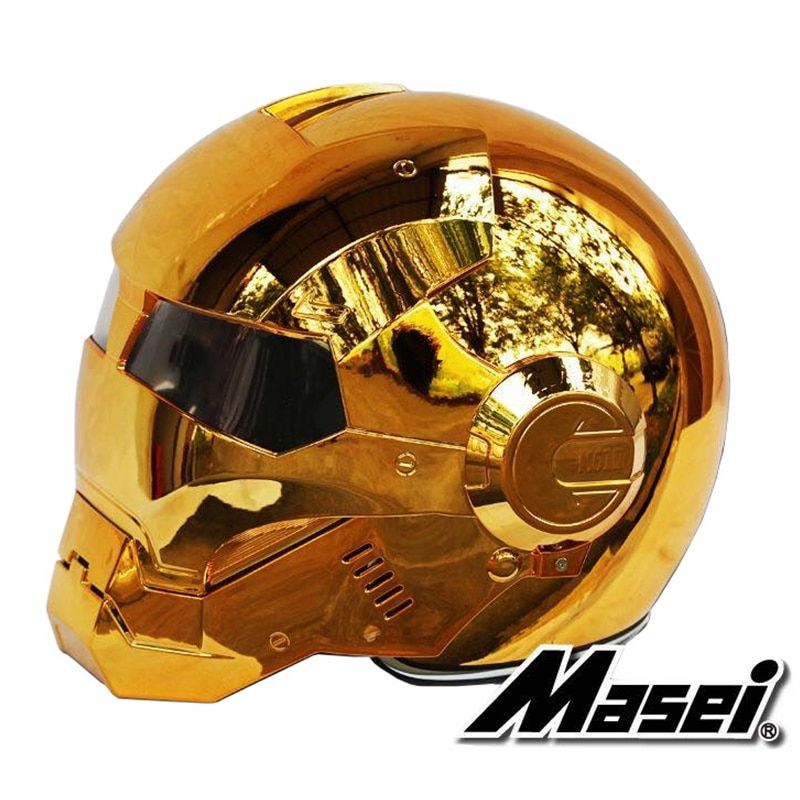 MASEI 610 electroplate Bronze plating Chrome IRONMAN Iron Man helmet motorcycle helmet half open face helmet ABS motocross