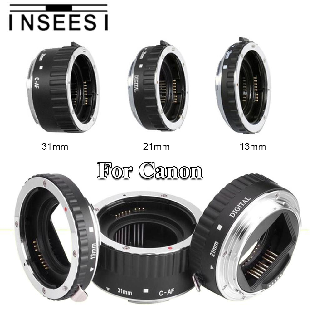 INSEESI Silver Metal Mount Auto Focus AF Macro Extension Tube Ring Lens For Canon EF EF-S 60D 650D 700D 70D 5D II Lens Adapter