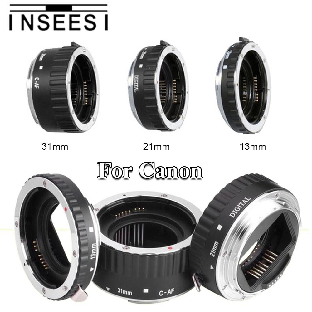 INSEESI Silver Mount Metal AF Auto Focus Macro Extension Tube Ring Lens Adapter For Canon EF EF-S 60D 650D 700D 70D SLR Cameras