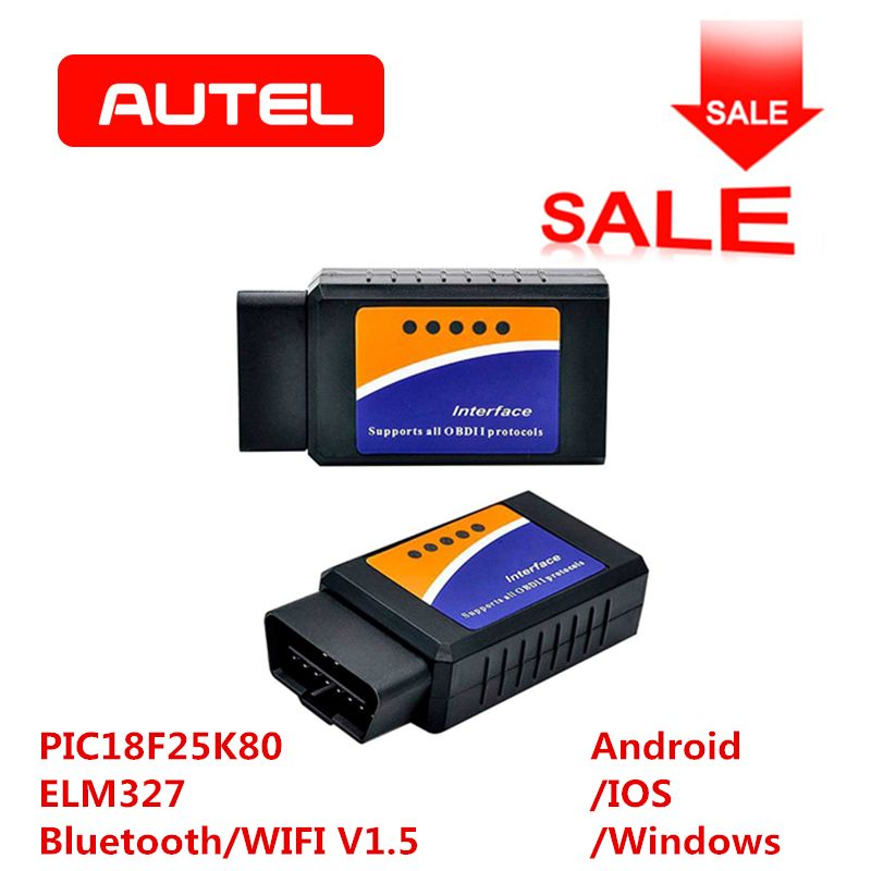 ELM327 OBD2 Bluetooth/WIFI V1.5 outil de Diagnostic de voiture ELM 327 OBD II Scanner puce PIC18F25K80 travail Android/IOS/Windows 12 V Diesel