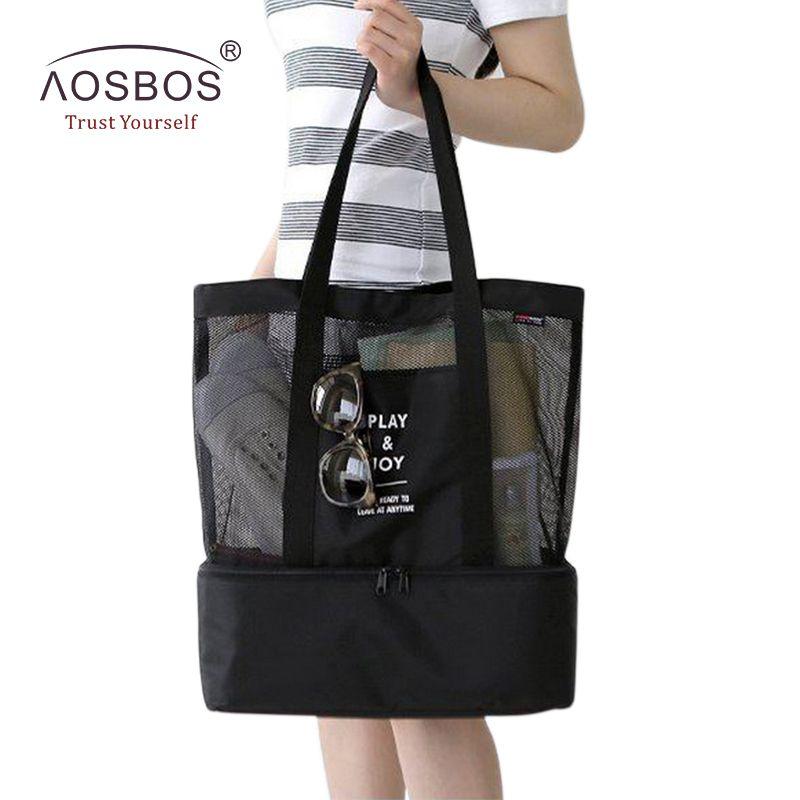 Aosbos нейлон путешествия Портативный мешок пикника Термальность охладитель изолированные сетки Сумки для обедов сумка для Для женщин Для му...