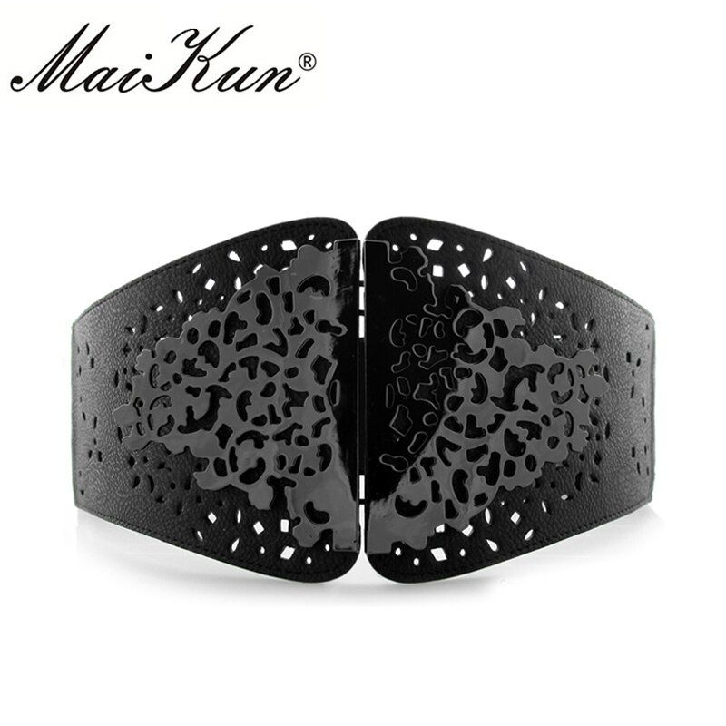 Vintage Wide Waist Belts for Women Stretchy Corset Waistband Hollow All-Match Women's Belt Flower Pattern Cummerbund