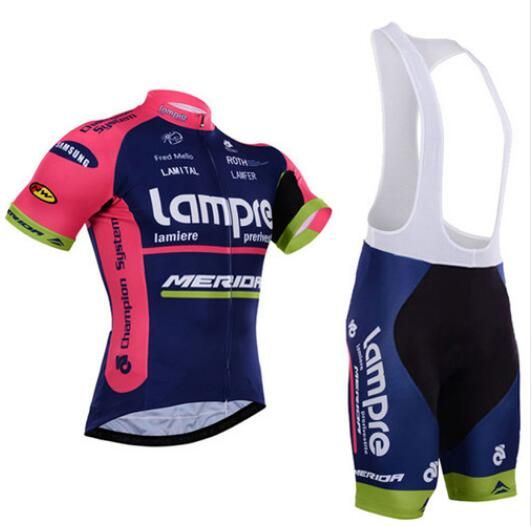 Team pro lampre merida cycling jersey set ropa ciclismo skinsuit bike jersey + tmb cycling bib shorts cycling sets clothing