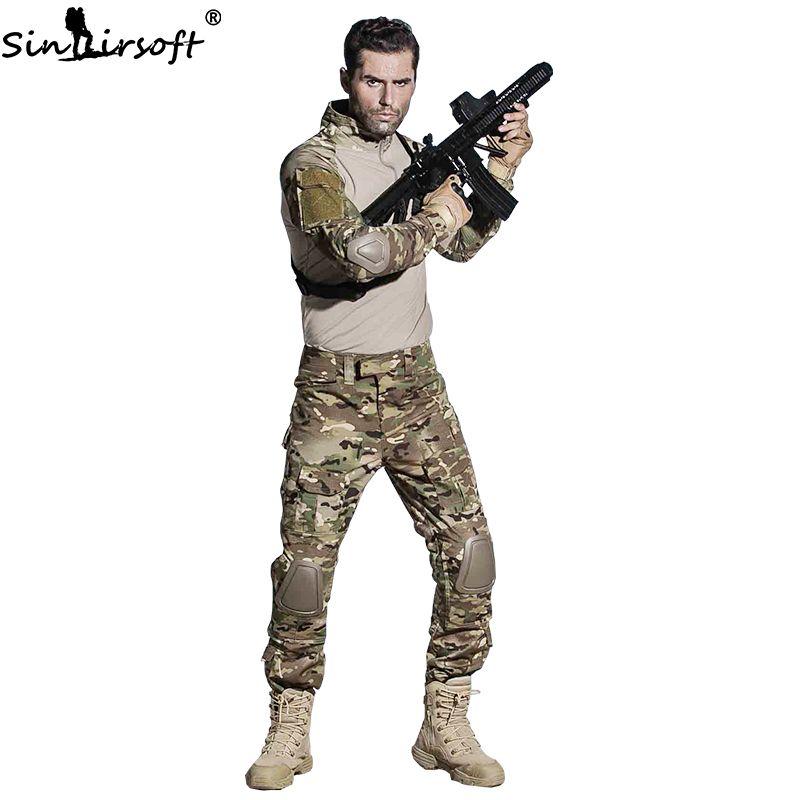 SINAIRSOFT Militär Uniform Multicam Armee Combat Shirt Einheitliche Taktische Hosen Mit Knie Pads Camouflage Anzug Jagd Kleidung