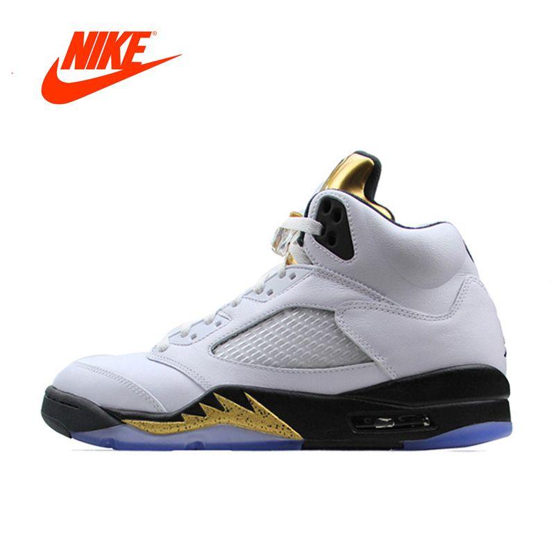 Новое поступление Официальный Nike Air Jordan 5 Ретро AJ 5 Для мужчин дышащие Баскетбольные кеды спортивные Спортивная обувь