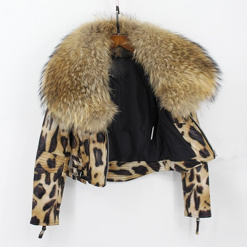 natural sheep leather jacket big fur collar leopard color 2018 new fashion high quality 100% genuine sheepskin wintershort coats