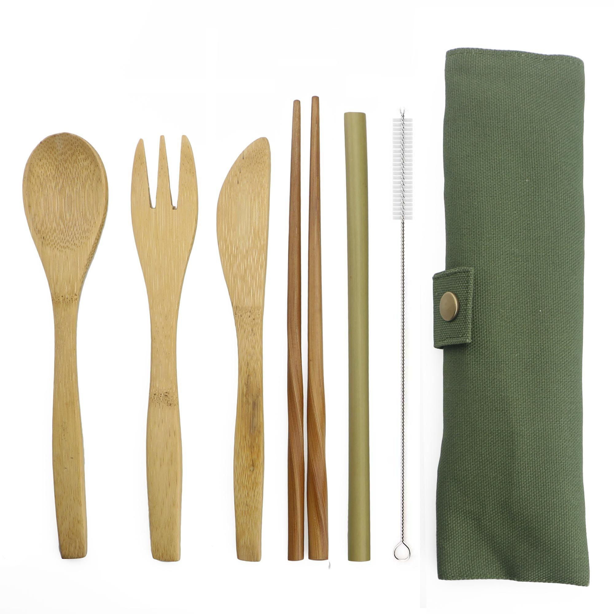 6-Piece Portable Luxury Dinnerware Japanese Wooden Cutlery Set Bamboo Cutlery Straw With Cloth Bag Kitchen Food Tableware Dinner