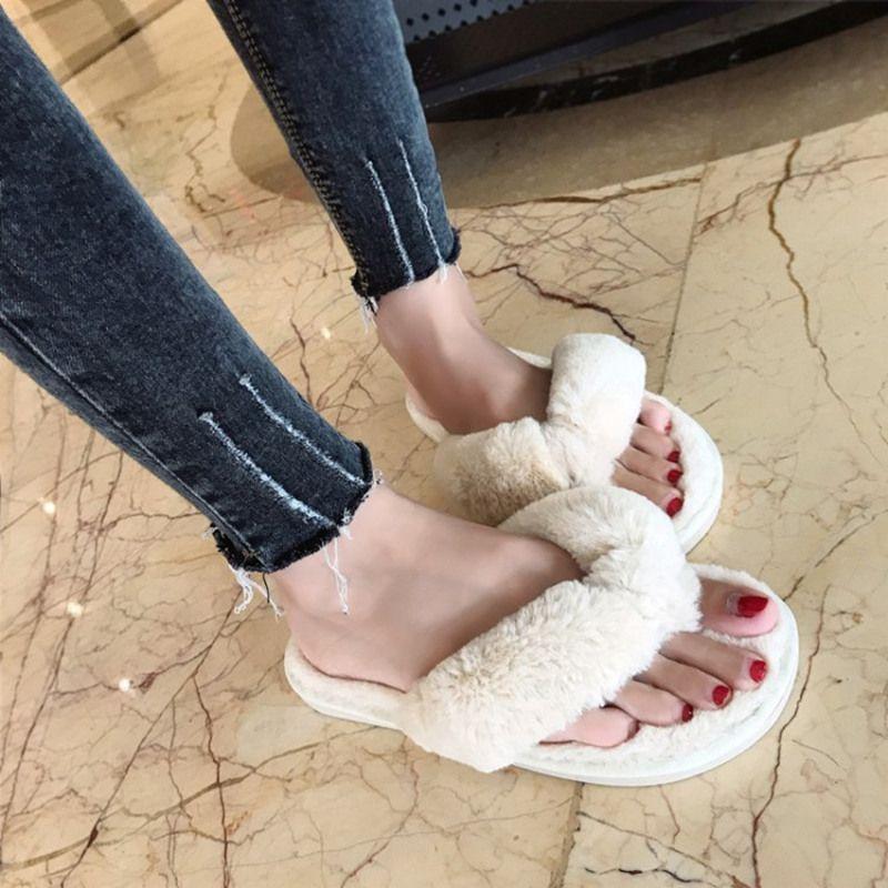 COOTELILI hiver mode femmes maison pantoufles fausse fourrure chaud chaussures femme sans lacet appartements femme fourrure tongs rose grande taille 36-41