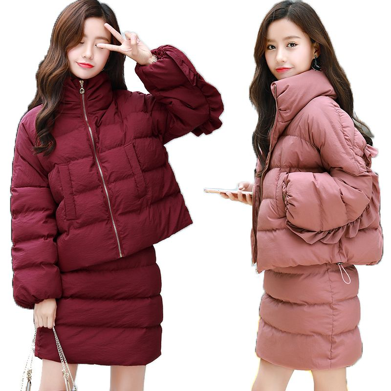 Winter Jacket + Warm Skirts Down Cotton 2 Piece Outfits For Women 2018 New Elegant Winter Clothes Plus Size Female Outwear Coats