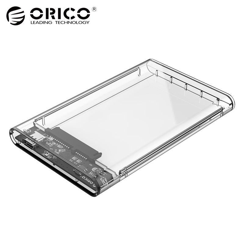 ORICO 2.5 inch Transparent TYPE-C to Sata 3.0 HDD Case Tool Free 5 Gbps Support 2TB UASP Protocol Hard Drive Enclosure