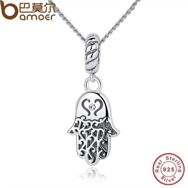 BAMOER New 925 Sterling Silver Lucky Hamsa Pendant Necklace Women Fine Jewelry Birthday Gift CC031