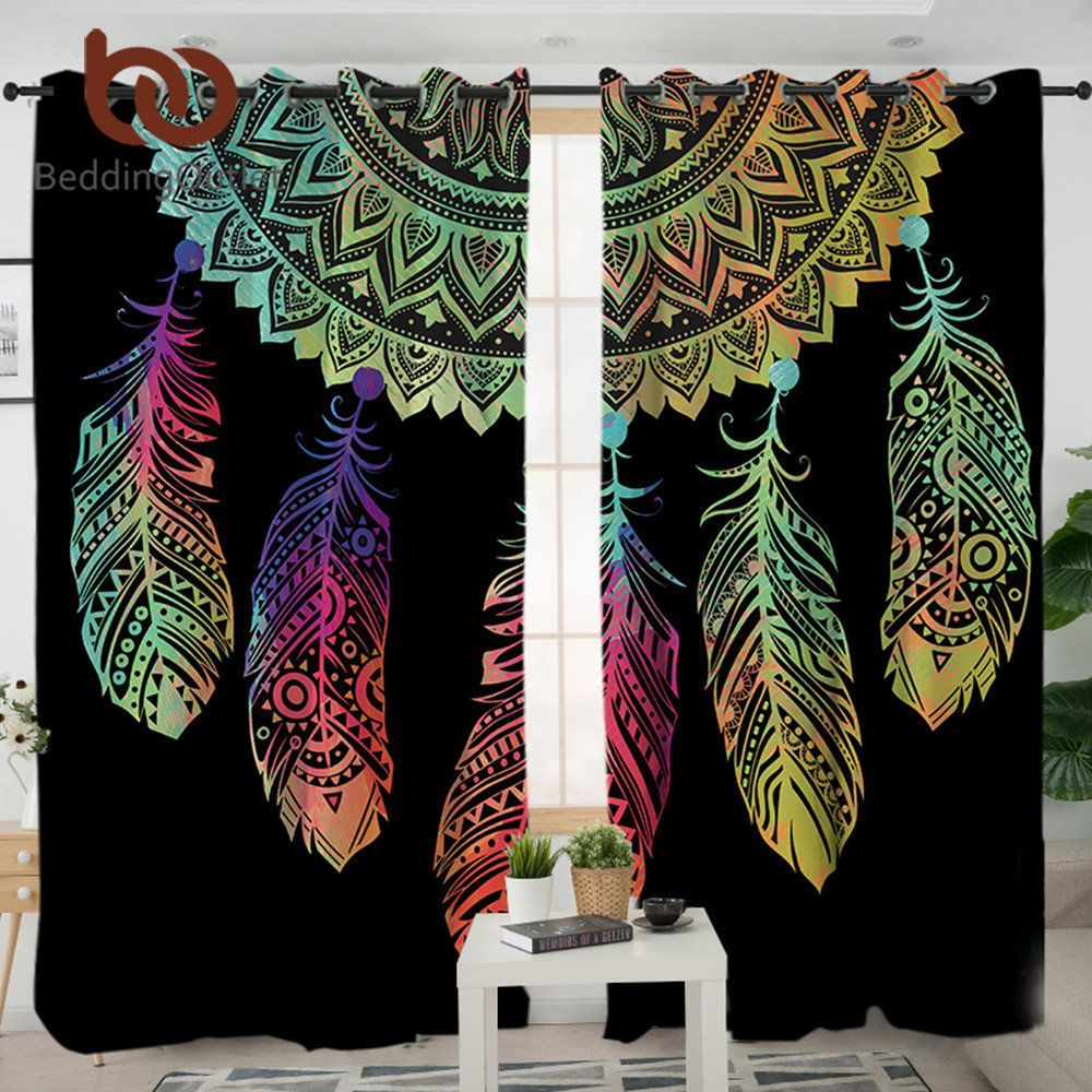 BeddingOutlet Dreamcatcher Curtains For Living Room Bedroom Colorful Blackout Curtain Window Treatment Drapes Home Decor 1/2pcs