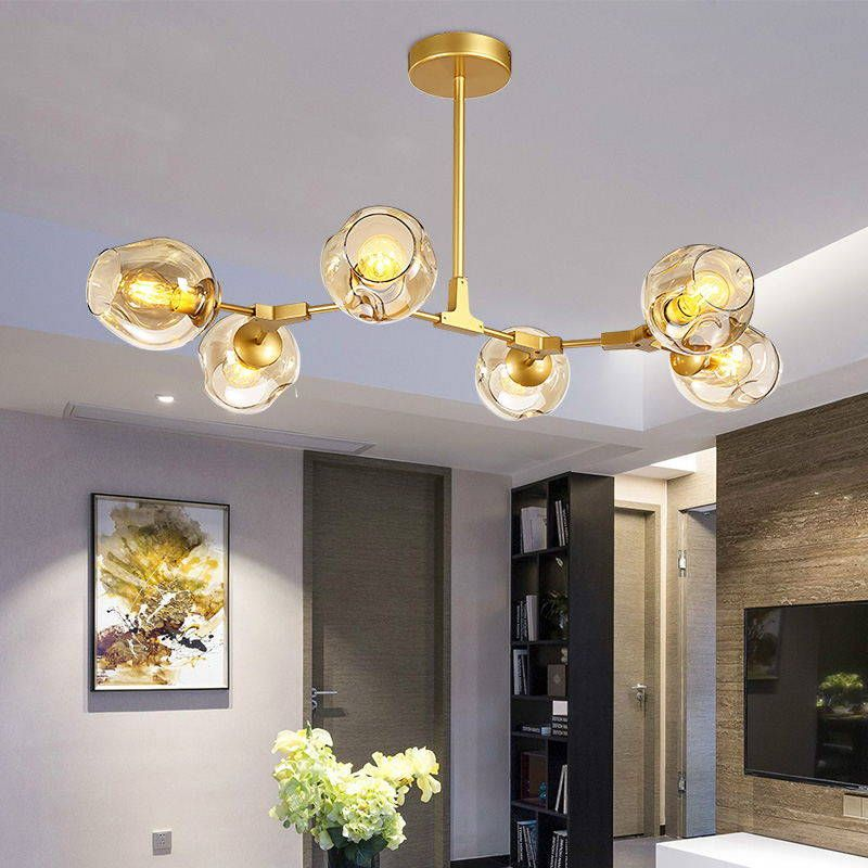 Designer chandeliers in the Nordic idea branches pendent lamp glass ball lamp droplight of post-modern art