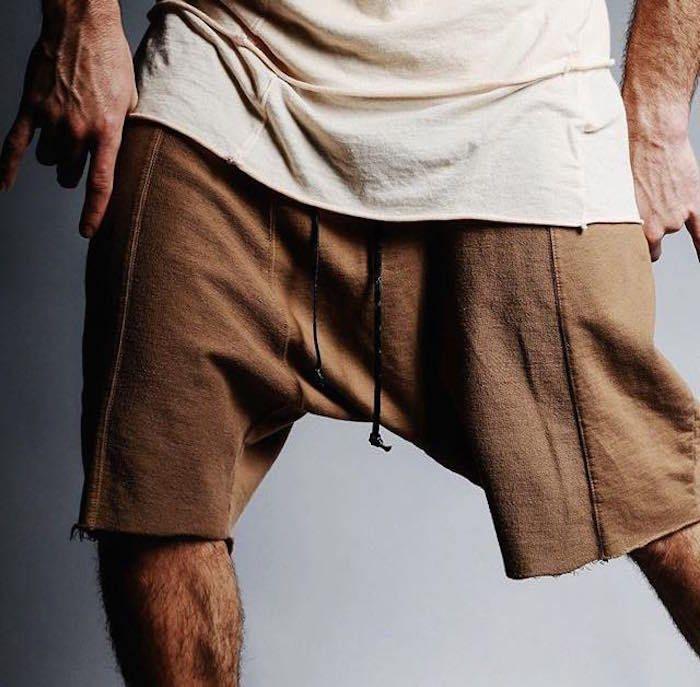 Kanye West Summer Для мужчин несколько сращены Твердые Цвет Рубашки домашние уличной хип-хоп необработанные края дикий человек уютный Шорты для же...