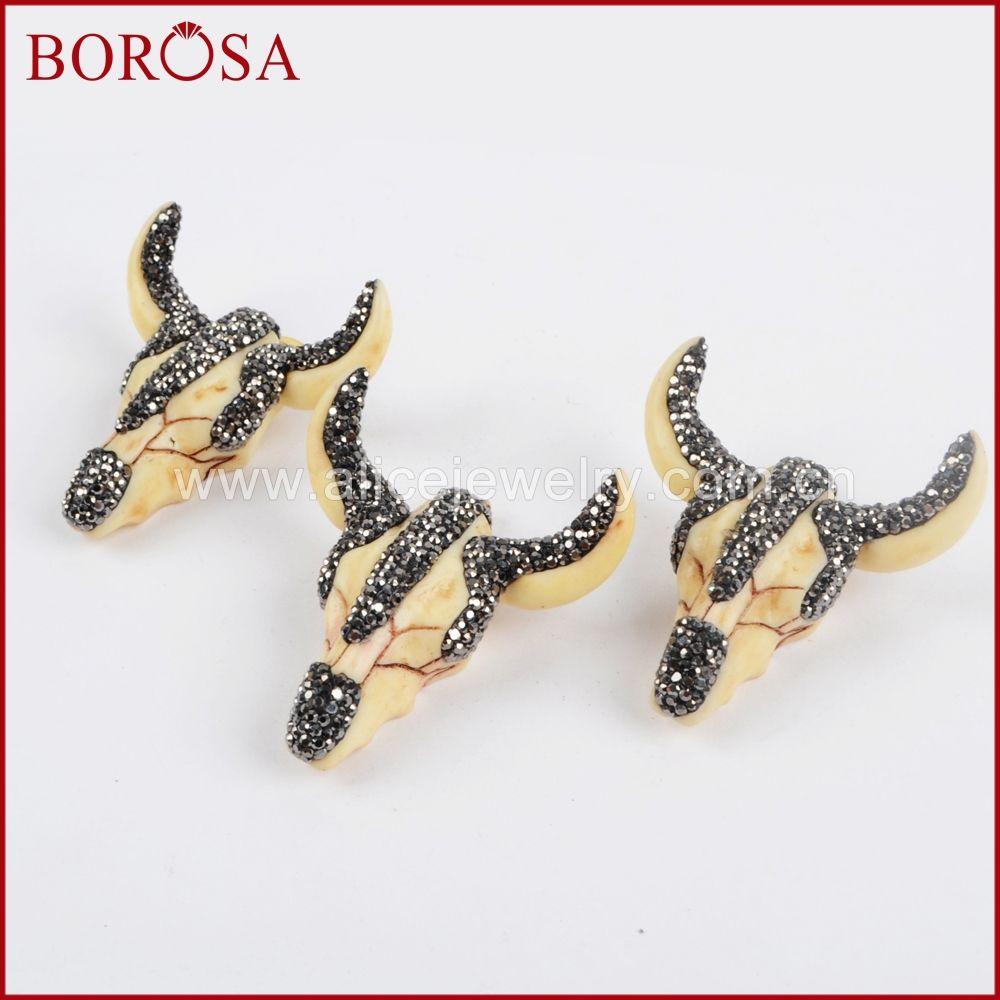 BOROSA résine Ox tête pendentif taureau bovins Longhorn Druzy pendentif strass pavé de pierres précieuses bijoux de mode pour les femmes JAB634