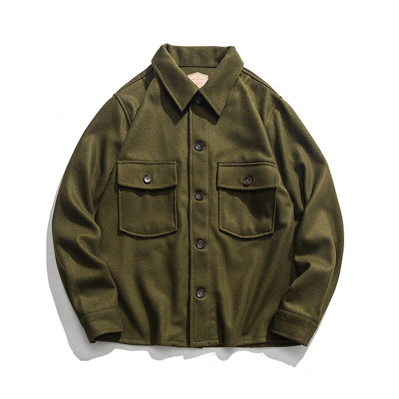 Vintage 70 s Woolen CPO Hemd Jacke US Navy männer Military Mantel Olive Grün 44