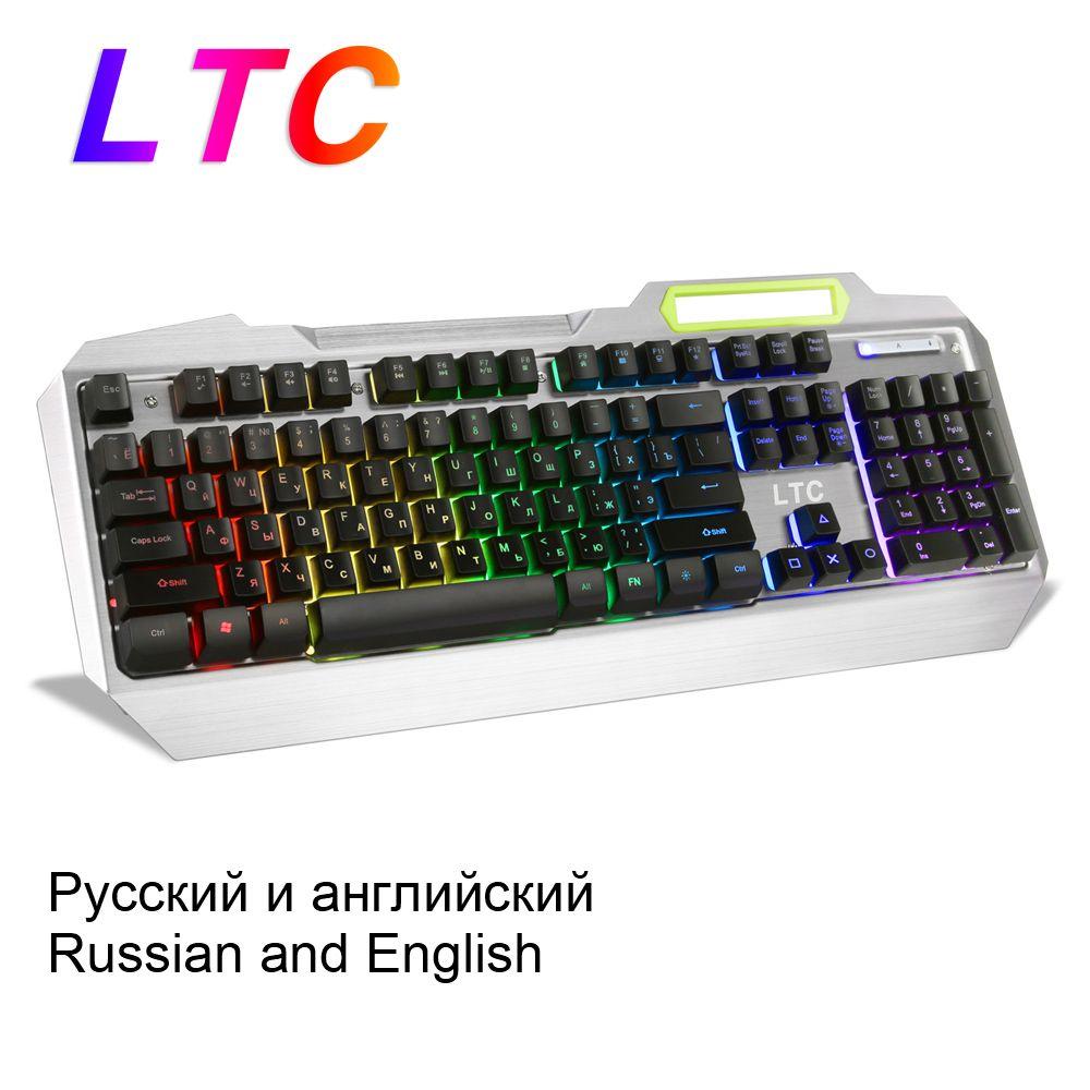 LTC Russian English Layout Keyboard RGB Backlit Mechanical Feel Gaming Full Size Ergonomic Anti-Ghosting Gamer Waterproof