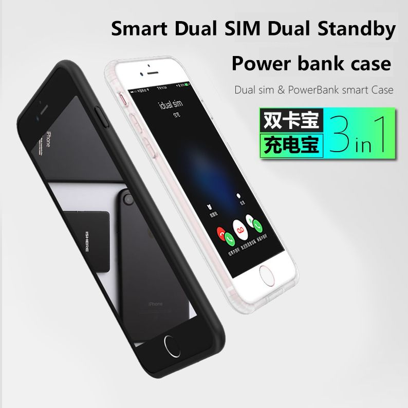 Für iPhone 6/7/8 plus Neue Ultradünne Bluetooth Dual SIM Dual Standby Adaper Lange Standby-7 tage mit 1500/2300 mAh Power Bank