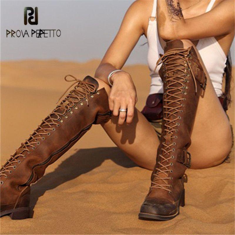 Prova Perfetto Retro Frauen Knie Hohe Stiefel Schnüren Weibliche Plattform Gummi Schuhe Frau Reiten Stiefel Chunky High Heel Botas mujer