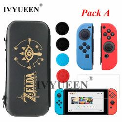 IVYUEEN for Nintend Switch NS Console Carrying Storage Bag Case Tempered Glass Screen Protector Joy Con Silicone Skin Caps