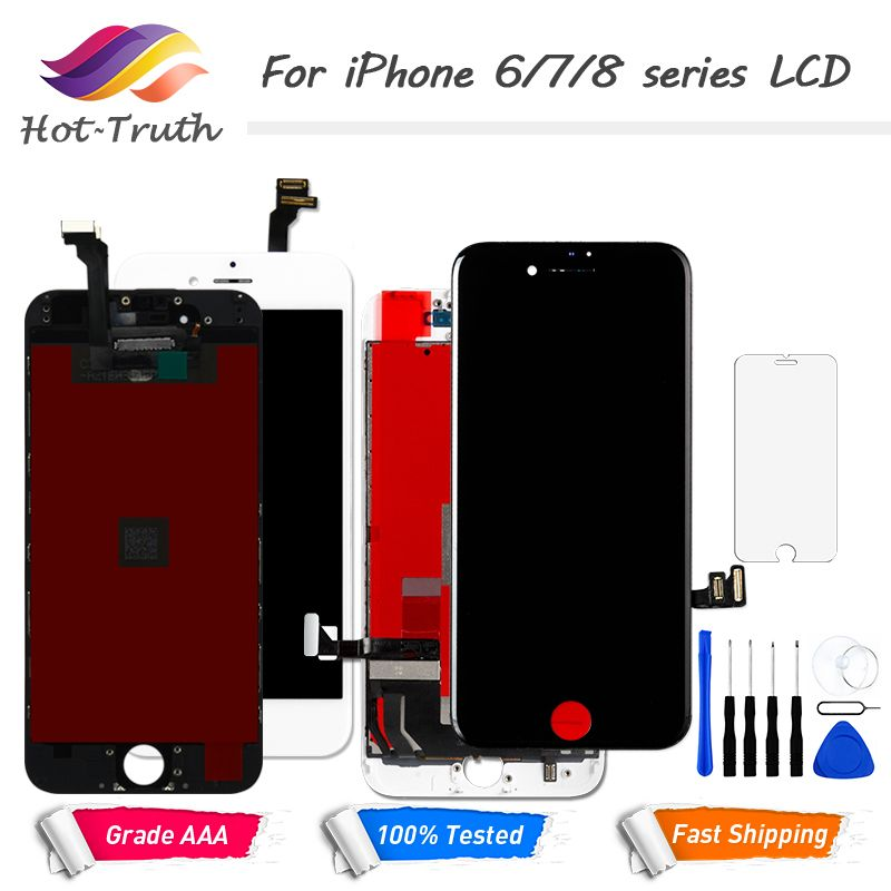1PCS LCD Display Touch Screen For iPhone 6 6S 7 8 Screen Pre-assembled with Digitizer White Black+Tools+Tempered Glass