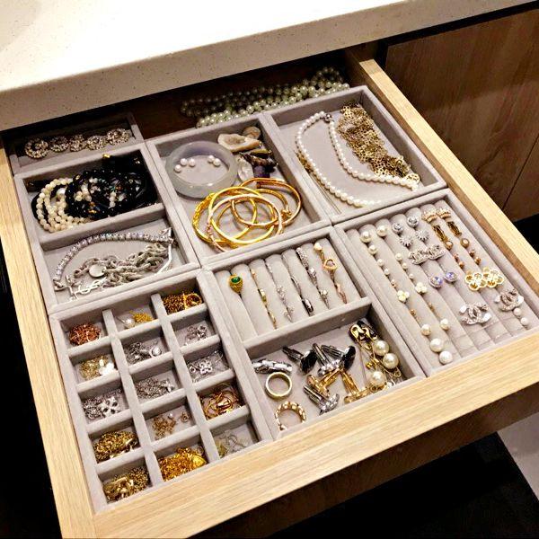Nouveau tiroir bijoux à bricoler soi-même plateau de rangement anneau Bracelet boîte cadeau bijoux organisateur support pour boucle d'oreilles petite taille Fit la plupart de l'espace de la pièce