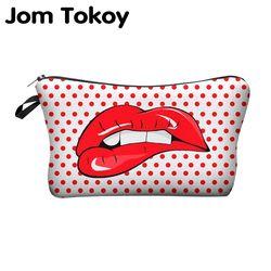 Jom Tokoy Печать Макияж сумки с разноцветным узором милые косметические сумки для путешествий дамская сумка женская косметичка