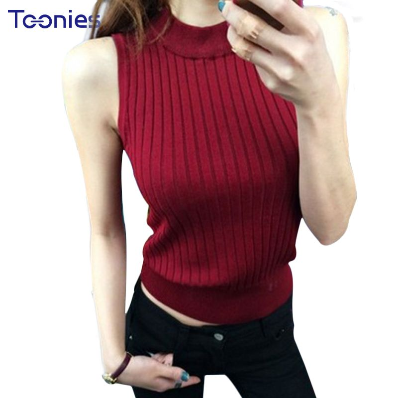 Sexy Sleeveless Sweater Pullover Women 2017 Autumn Ladies Fashion Knitting Sweater Female Solid Color White Black Women Top Tees
