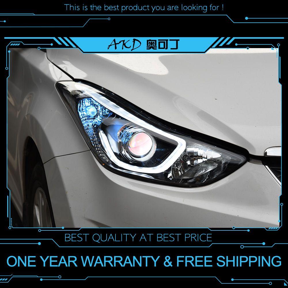 AKD tuning cars Headlight For Hyundai Elantra 2012-2016 Headlights LED DRL Running lights Bi-Xenon Beam Fog lights angel eyes