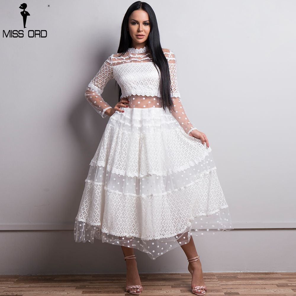 Missord 2018 Women Sexy High Neck Long Sleeve Dot Dresses Female Lace Dress See Through Casual Elegant Dress FT18425