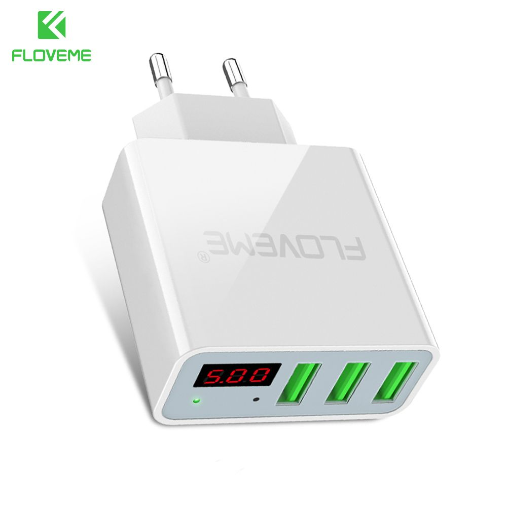 FLOVEME USB Charger 3 Ports+Digital Display Portable Fast USB Charging Travel Adapter For iPhone Samsung XIAOMI Huawei OnePlus 5