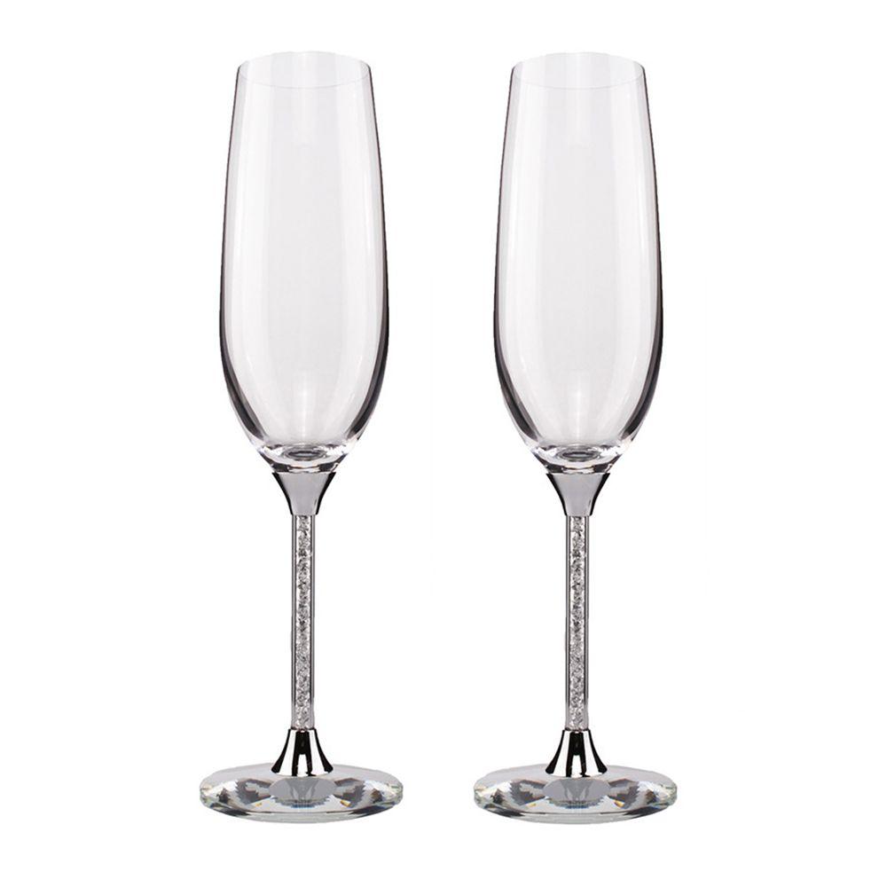 KEYTREND Champagne Verre Flûtes Parfait pour les Cadeaux De Mariage, ensemble de 2, de luxe K9 Cristal Grillage Flûtes et Verres à Vin AECL003