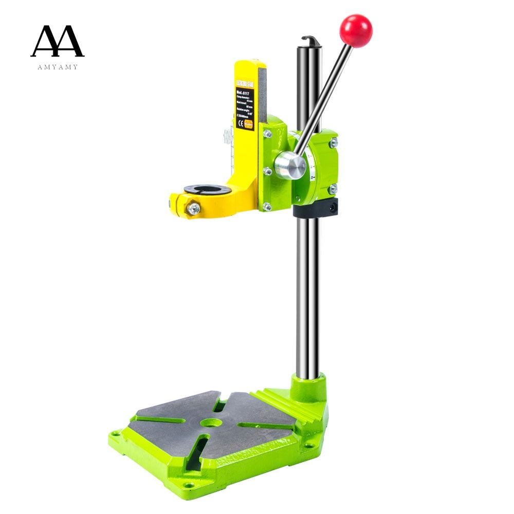 AMYAMY Electric power Drill Press Stand for Drill Workbench Repair Tool Clamp for Drilling Collet Table 35&43mm 0-90 degrees