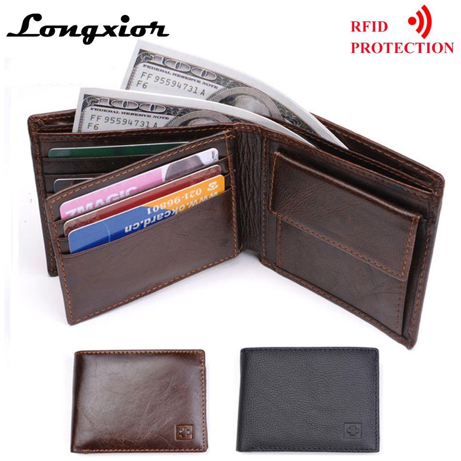 MRF7 2017 new men wallet RFID blocking , zippper coin pocket ,100% top grain cow leather wallet men