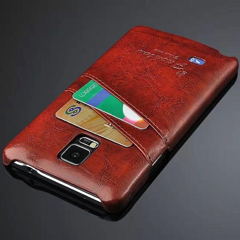 Pour Galaxy Note 4 Cas Coque Cas De Luxe Pour Samsung Galaxy Note 4 Capa fondamentale Pour Galaxy-Note-4 Étui En Cuir w/Fente Pour Carte Coque