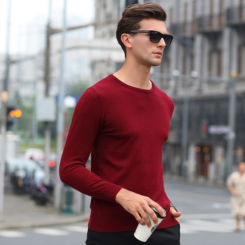 Sweters Men Invierno 2018 Male O-neck Pure Color Pullover Men Sweaters Casual Long Sleeve Sweater Brand Mens Knitwear Pull Homme