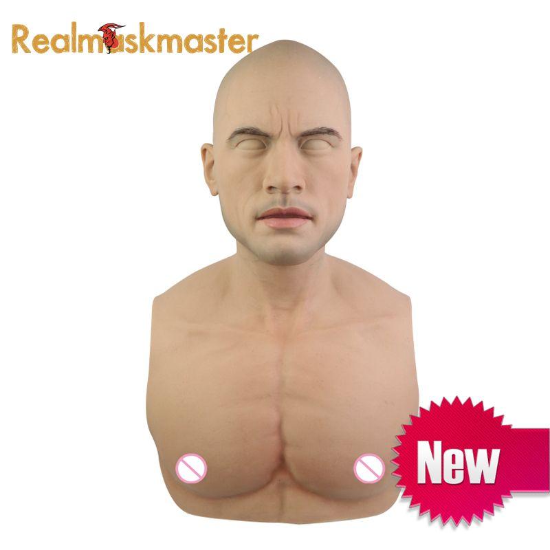 Realmaskmaster halloween künstliche realistische silikon maske verkleidet männlichen latex erwachsene volle gesicht cosplay maske für party