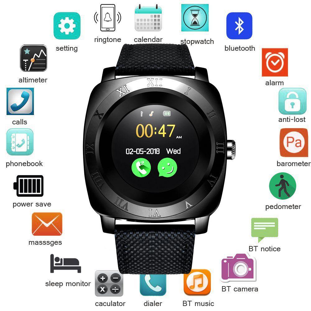 BNAGWEI Smart Watch Pedometer Fitness Clock Camera SIM Card Smartwatch phone Mp3 Player man for IOS Android Watchphone PK DZ09