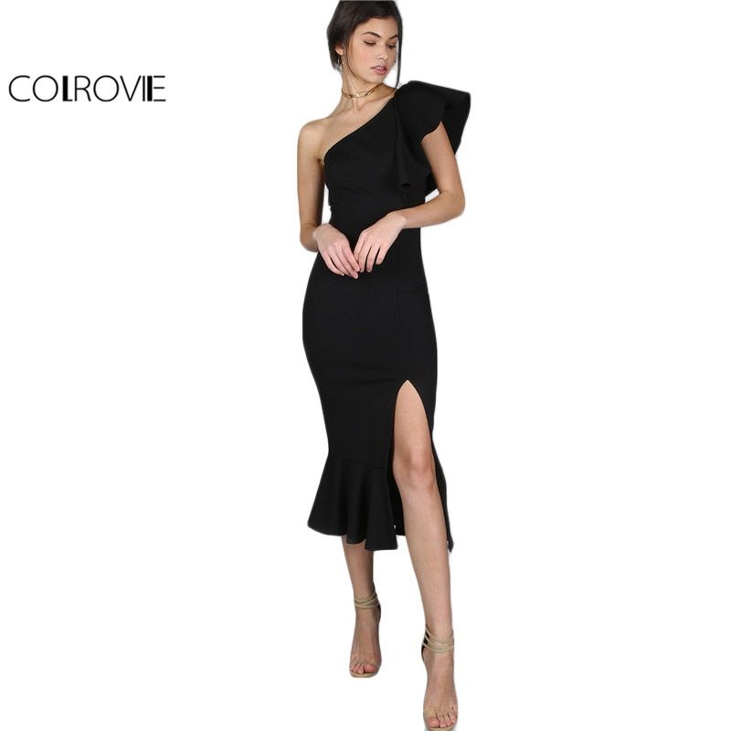 COLROVIE Black Party Dress 2017 Women One Shoulder Frill Peplum Hem Sexy Elegant Summer Dresses Slim Ruffle Split Bodycon Dress