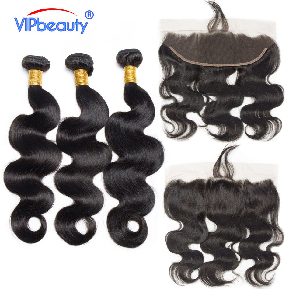 Vip Beauty Brazilian body wave bundles with frontal non remy hair extension body wave 3 bundles with closure