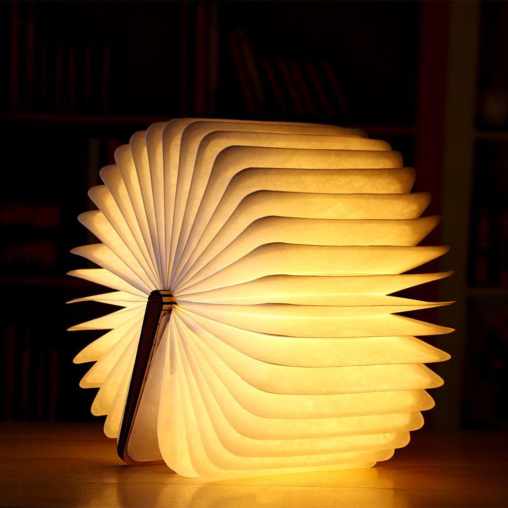 Noche LED Lámpara de Luz del Libro Plegado Puerto USB Recargable Imán De Madera Inicio Tabla Lámpara de Escritorio Decoración Blanco/WarmWhite IY303153
