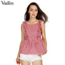 Vadim mujeres dulce volantes Plaid camisas plisadas botones backless sin mangas chequeado blusa señoras verano casual tops blusas WT459