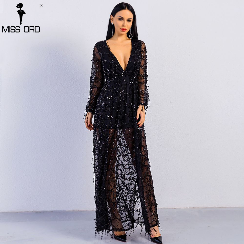 Free Shipping 2018 Sexy ankle-length long sleeve deep V two split sequin maxi dress FT2901