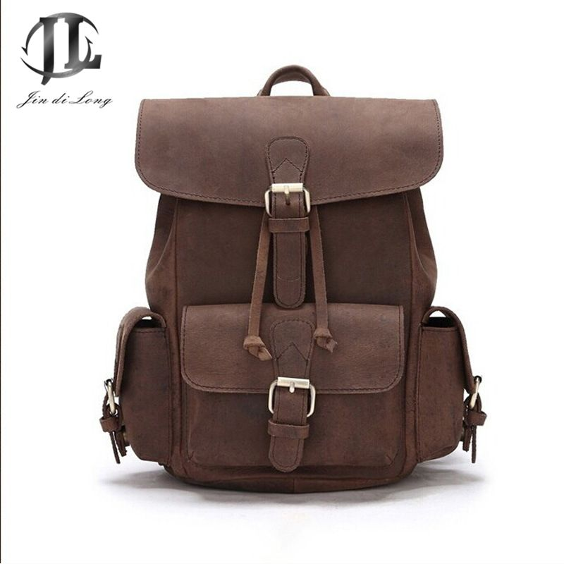 New Full Crazy Horse Genuine Leather Men Women's Travel Backpack School Student Daypack Back Pack Notebook Laptop Bag
